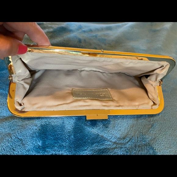 Express Vintage Gold Patterned Clutch